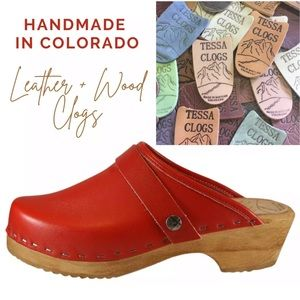 Tessa Clogs Vail Handmade Red Leather Wood Mules